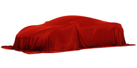 New racing design car covered with red cloth. 3d rendering illustration Imagens