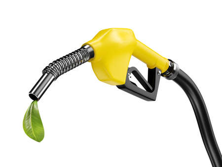 Yellow fuel pump nozzle with green leaf. Bio eco fuel concept. 3d rendering Stock Photo