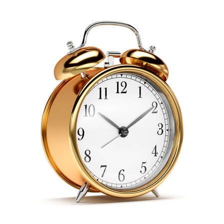 Golden old fashioned alarm clock isolated on white background. 3d rendering illustration
