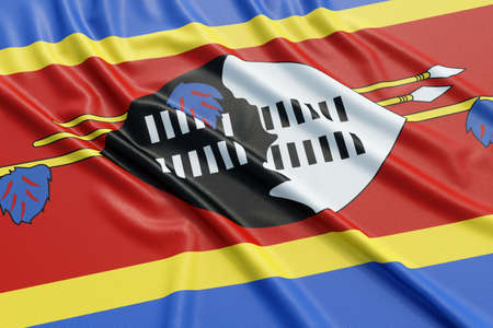 Swaziland flag. Wavy fabric high detailed texture. 3d illustration rendering Stock Photo