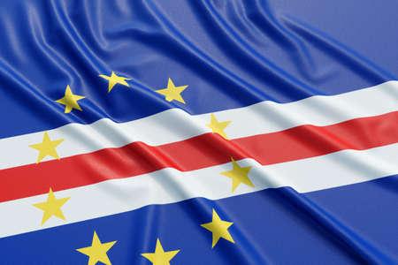 verde: Cape Verde flag. Wavy fabric high detailed texture. 3d illustration rendering Stock Photo
