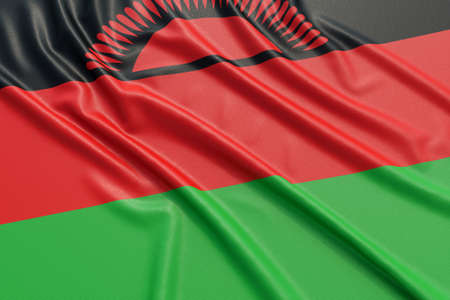 Malawi flag. Wavy fabric high detailed texture. 3d illustration rendering Stock Photo