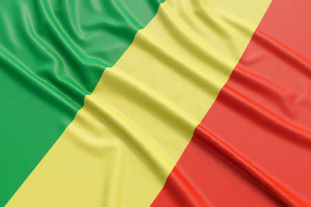 european culture: Republic of the Congo flag. Wavy fabric high detailed texture. 3d illustration rendering