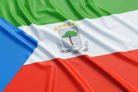 Equatorial Guinea flag. Wavy fabric high detailed texture. 3d illustration rendering Stock Photo