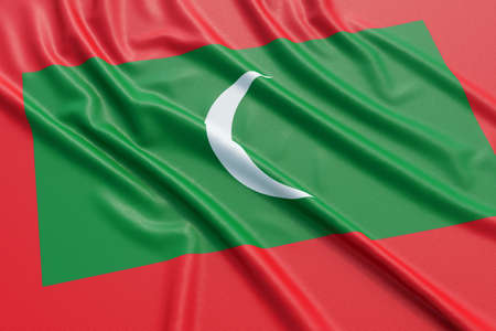 european culture: Maldives flag. Wavy fabric high detailed texture. 3d illustration rendering