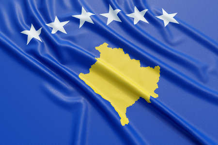 Kosovo flag. Wavy fabric high detailed texture. 3d illustration rendering