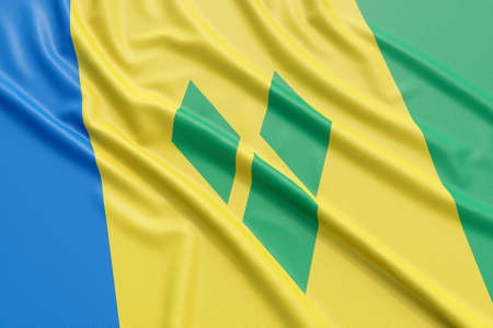 european culture: Saint Vincent and the Grenadines flag. Wavy fabric high detailed texture. 3d illustration rendering