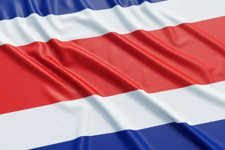 Costa Rica flag. Wavy fabric high detailed texture. 3d illustration rendering Stock Photo
