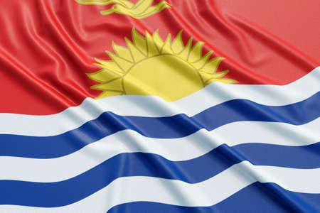 Kiribati flag. Wavy fabric high detailed texture. 3d illustration rendering Stock Photo