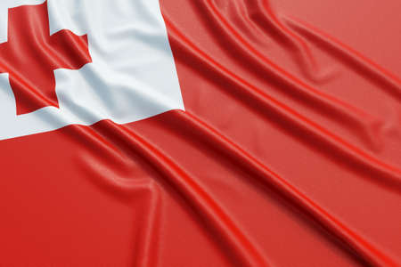 tonga: Tonga flag. Wavy fabric high detailed texture. 3d illustration rendering