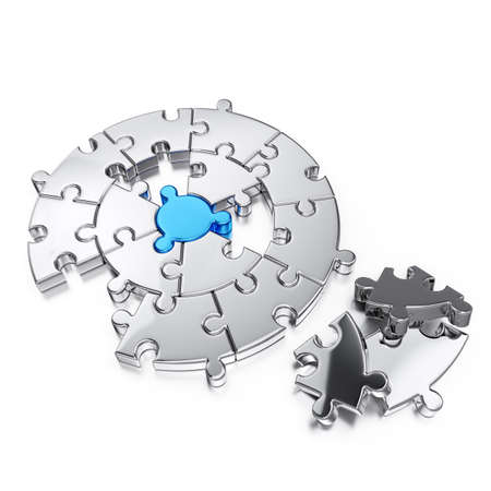 Puzzle jigsaw ring business concept. Isolated on white background 3d rendering