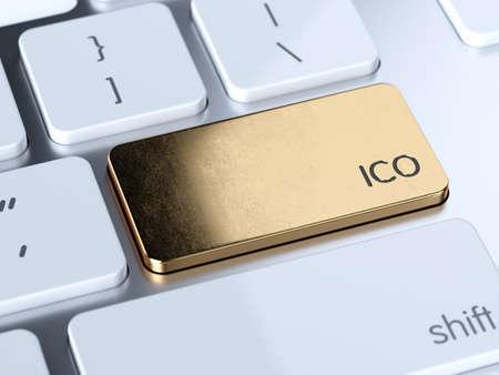 황금 IPO, 초기 공공 제공 서비스 기호 단추 흰색 컴퓨터 키보드. 3d 렌더링 개념
