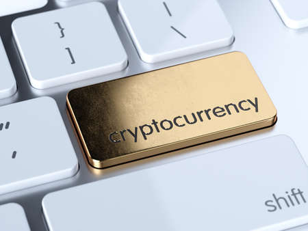 Golden cryptocurrency service sign button on white computer keyboard. 3d rendering concept