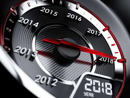 3d illustratie van de snelheidsmeter van de het jaarauto van 2018. Countdown-concept