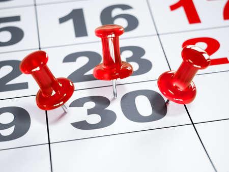 Rendu 3d agrandi du calendrier avec des épingles rouges. Notion de date limite. Flou artistique