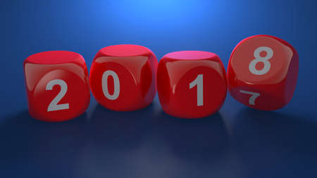 3d render of dice with new year 2018 on blue background Stock Photo