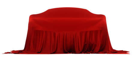 New racing design car covered with red cloth. 3d rendering illustration. Shallow DOF, shallow focus Imagens
