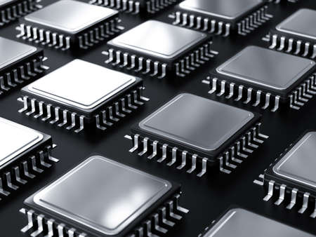 Computer processor raw isolated on black base plate. 3d rendering illustration