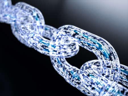 Blockchain digitale verlichte vorm. Big data-knooppunt basisconcept. 3D-rendering illustratie Stockfoto