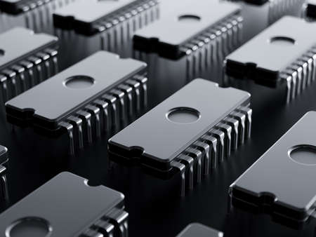 Integrated circuit raw isolated on black base plate. 3d rendering illustration