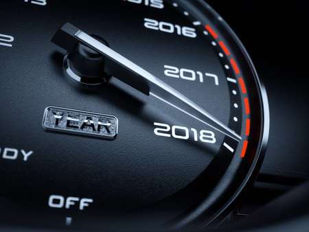 2018 year car speedometer countdown concept. 3d rendering illustration