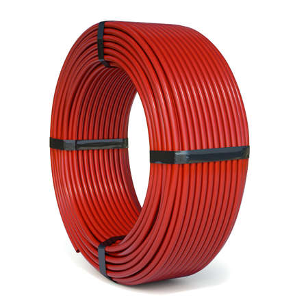 Red plastic rolled hose pipe or cable isolated on white background. 3d renderind illustration