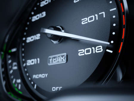 2018 年車のスピード メーターのカウント ダウンのコンセプト。3 d レンダリング図