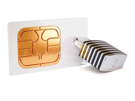 Simcard security protection concept. Sim card with padlock isolated on white background. 3d rendering illustration Stock Photo