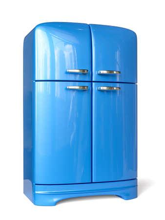 Blue retro fridge refrigerator. 3d rendering image. Isolated white background.