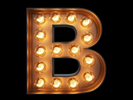 Light bulb glowing letter alphabet character B font. Front view illuminated capital symbol on black background. 3d rendering illustration Banco de Imagens