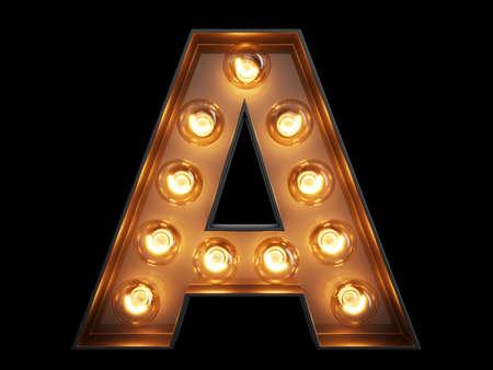 Glühbirne lila Buchstaben Alphabet Zeichen . Eine Vorderansicht außen der Zeitlupe auf schwarzem Hintergrund . 3D-Rendering 3D-Darstellung