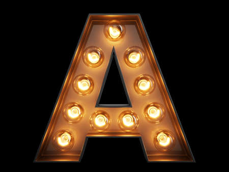 Light bulb glowing letter alphabet character A font. Front view illuminated capital symbol on black background. 3d rendering illustration