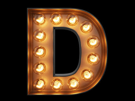 Light bulb glowing letter alphabet character D font. Front view illuminated capital symbol on black background. 3d rendering illustration Stockfoto