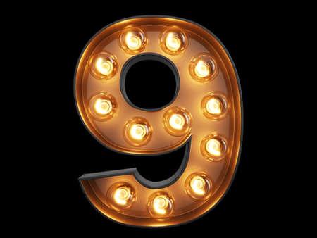 Light bulb glowing digit alphabet character 9 nine font. Front view illuminated number 9 symbol on black background. 3d rendering illustration