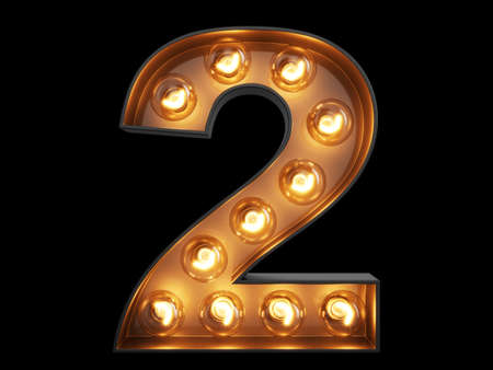 Glühbirne leuchtende Ziffer Alphabet Zeichen 2 zwei Schriftart. Vorderansicht beleuchtete Nummer 1 Symbol auf schwarzem Hintergrund. 3D-Rendering-Abbildung