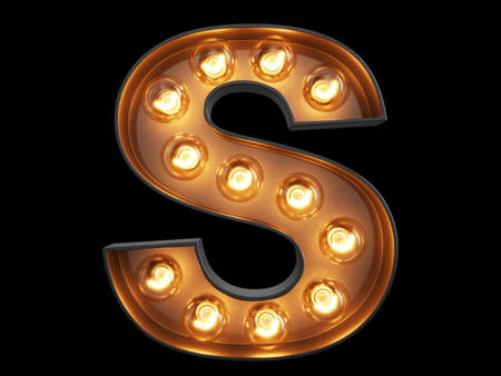Light bulb glowing letter alphabet character S font. Front view illuminated capital symbol on black background. 3d rendering illustration