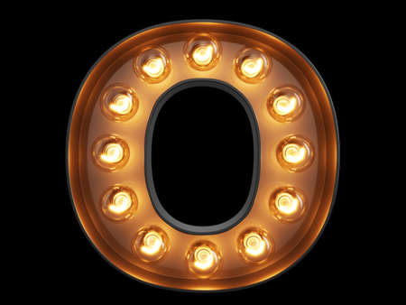 Light bulb glowing letter alphabet character O font. Front view illuminated capital symbol on black background. 3d rendering illustration