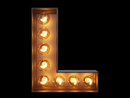 Light bulb glowing letter alphabet character L font. Front view illuminated capital symbol on black background. 3d rendering illustration