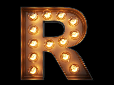 Light bulb glowing letter alphabet character R font. Front view illuminated capital symbol on black background. 3d rendering illustration