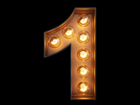 Light bulb glowing digit alphabet character 1 one font. Front view illuminated number 1 symbol on black background. 3d rendering illustration Banco de Imagens