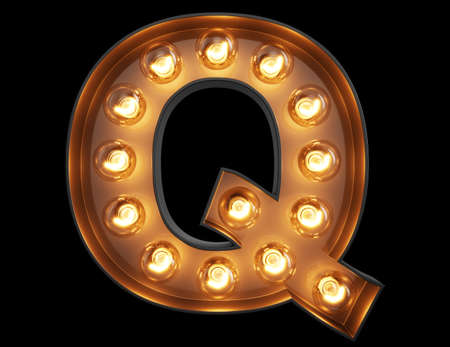 Light bulb glowing letter alphabet character Q font. Front view illuminated capital symbol on black background. 3d rendering illustration Stock Photo