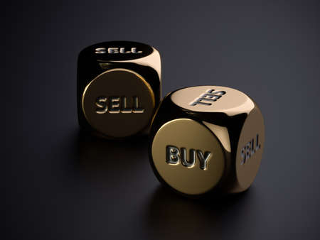 Buy sell golden dices on black background. 3d rendering trading concept illustration