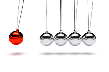 Balancing balls newtons cradle. Business teamwork concept. 3d rendering illustration isolated Фото со стока