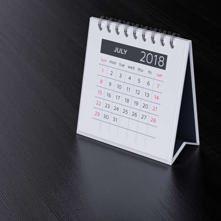 event planner: Modern flat design desk calendar for july 2018 year on black wood table background. 3d rendering illustration Stock Photo