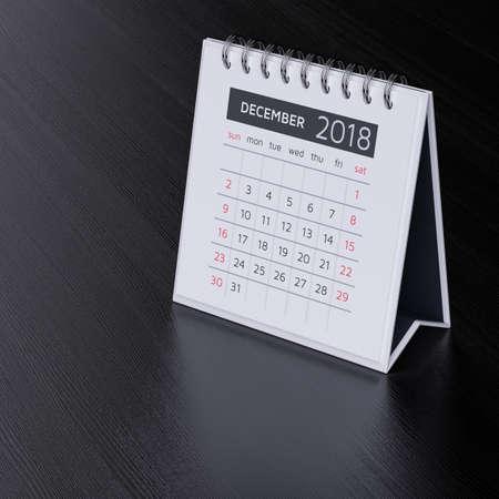 event planner: Modern flat design desk calendar for december 2018 year on black wood table background. 3d rendering illustration