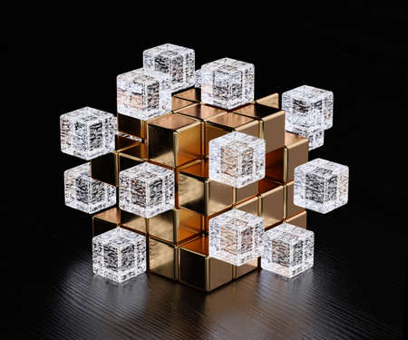 Blockchain digital illuminated shape transparent glass blocks boxes combines with golden big one. Big data node base concept. 3d rendering illustration