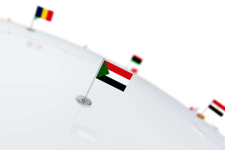 Sudan flag. Country flag with chrome flagpole on the world map with neighbors countries borders. 3d illustration rendering flag