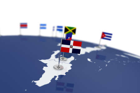 Dominican republic flag. Country flag with chrome flagpole on the world map with neighbors countries borders. 3d illustration rendering 스톡 콘텐츠