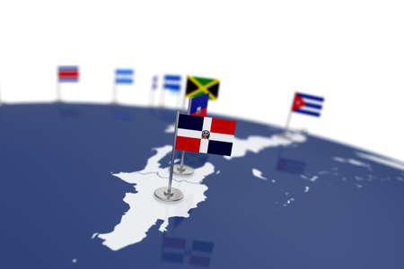 Dominicaanse Republiek vlag. Vlag van het land met chrome vlaggenmast op de wereldkaart met buurlanden grenzen. 3D illustratie rendering Stockfoto