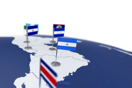 Nicaragua flag. Country flag with chrome flagpole on the world map with neighbors countries borders. 3d illustration rendering flag